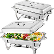 Vevor 2 Pack Catering Stainless Steel Chafer Chafing Dish Sets 9qt Buffet Pans