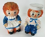 Vintage Raggedy Ann And Andy Plastic Coin Banks Bobbs Merrill 1972 10 1/2 Tall