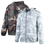 Menand039s Hooded Water Resistant Zipper Lightweight Windbreaker Outwear Jacket Camo