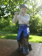 Vintage Large Bing And Grondahl Figurine - Boy Playing Flute - 1st Quality