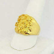 Solid 24k Yellow Gold Extra Large Diamond Cut Mens Nugget Ring, Size 5 - 11