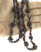 Garnet Bead Cluster Woven Necklace Strand 10 Mm 28