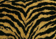 Drapery Upholstery Fabric Chenille Animal Print - Tiger In Black And Gold