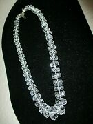 Vintage Rock Crystal Multi Faceted Hexagon Graduated Necklace 17 Sterling Clasp