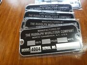 Reproduction Tag For A Wurlitzer Jukebox Type 4004 Light-up Wall Speaker