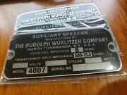 Reproduction Tag For A Wurlitzer Jukebox Type 4007 Light-up Wall Speaker