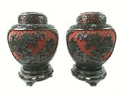 Rare Pair Of Antique Chinese Black Lacquer Red Cinnabar Ginger Jars Blue Enamel