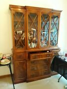 Antique Lg Mahoghany China /hutch All Bubbled Glass Doors With Skelton Key