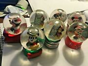 Lot 6-disney Jc Penney Mickey Mouse Collectible Christmas Mini Snow Globes Nice