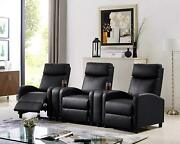 Black Leather Pillow Top 3-seat Home Theater Recliner W/ Push-back Chair Sillon