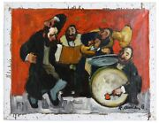 Chassidic Dance By Adolf Adler Signed Oil On Canvas 12 X 16 W/ Coa