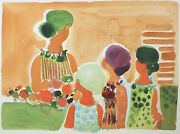 Woman With Children By Frederic Menguy Signed Unique Watercolor On Paper 16x21