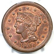 1850 N-21 R-3 Pcgs Ms 64 Rb Cac Braided Hair Large Cent Coin 1c