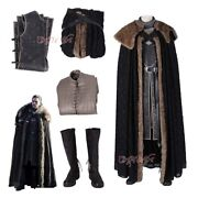 Game Of Thrones 8 Snow Jon Cosplay Costume Winter Outfits Cool Cloak Full Set