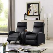 Black Leather Pillow Top 2-seat Home Theater Recliner W/ Push-back Chair Sillon