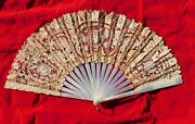 Antique Mother Of Pearl And Brussels Lace Hand Fan