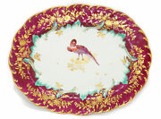 Chelsea Gold Anchor Dish Claret Ground With Exotic Bird C.1765