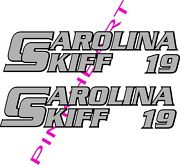 Carolina Skiff Boat Outline Decals Graphics Sticker Decal Stickers Usa 2 Colors