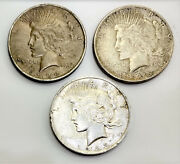 1 Silver Peace Dollars Lot Of Three Coins 1923 1924 1925 90