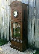 Large Carved Antique Oak Lobby Or School Clock Case Circa 1890-1910