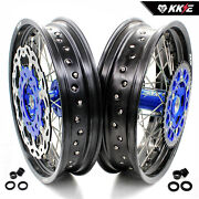 Kke 3.5/4.2517 Supermoto Wheels Rim Fit Kawasaki Kx250f Kx450f Kx125 Kx250 Blue