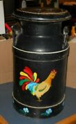 Vintage Rustic Metal Dairy Milk Cream Can Farmhouse 20and039and039 High Black W/ Chickens