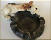 Charming 1940s Vintage Wire-haired Fox Terrier Ash Tray - A Moderne Creation Andnbsp