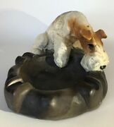 1940s Vintage Wire-haired Fox Terrier Ash Tray By A Moderne Creation