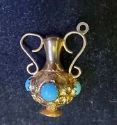 Lovely Vintage Etruscan 18 Kt Yellow Gold Turquoise Stone Pitcher Charm Jewelry