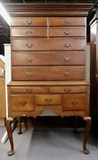Antique Queen Anne / Chippendale Style Cherry 2 Piece Highboy. 1830. 73 H