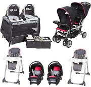 Baby Girls Pink Double Stroller Twins Nursery Center 2 High Chairs 2 Car Seats
