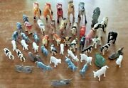 Lot Of 50 Assorted Plastic Farm Animals, Cows, Dogs, Horses, Pigs, And More