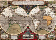 Antique World Map Old Vintage Map 1595 Fade Resistant Hd Art Print Or Canvas