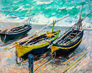 Monet 1886 Three Fishing Boats Canvas Print Fade Resistant Hd Print Or Canvas