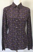 40/6 Prada 100 Silk Shirt Blouse Top Dress Jacket Tunic Tee Made In Italy