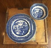 Johnson Brothers Willow Blue Black And Blue Backstamp And 1883 Backstamp Dishes