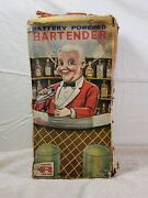 Vintage Rosko Tin Battery Operated Toy Bartender In Original Box Animated Toys