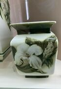 Exclusive Russian Imperial Lomonosov Porcelain Vase Misty Morning Lily Flowers