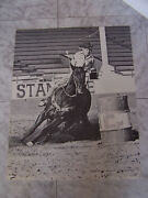 Vintage 1976 Sue Rupp U.n.c. Photo By Dusty Allison Rodeo Print Poster 15 3/4x20