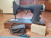 Vintage National Cast Iron Sewing Machine M. Rbr W/ Wooden Base. Needs Work