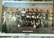 Vintage 1978 Brazil World Cup Team Poster 34x 23 New In Original Wrap, Exc'lnt