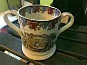 Sunderland Lustre Ware Large 5.5x8.5 Dual Handle Loving Cup Early 19thc Nice