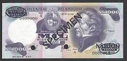 Uruguay 1000 Pesos Nd 1978 P64as Specimen Perforated Uncirculated