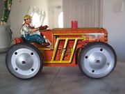 1950and039s Marx Mar Toys Wind Up Tin Climbing Tractor With Key Usa