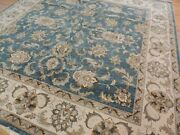 Indian Peshawar Square 8x8 Oriental Area Rug Blue Beige Hand-knotted Wool