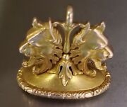 Victorian 14k Gold Mythological Griffin Watch Fob Pendant Seal Crest Jewelry