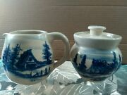 Marshall Pottery Large Sugar Bowl And Cream Picture With Barn , Signed By...