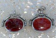 Antique Pair Of Sterling Silver Carnelian Green Stone Fob Spinner Pendants