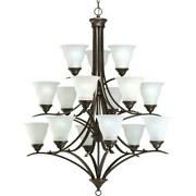 Progress Lighting Trinity 15-light Antique Bronze Chandelier With Etched Glasses