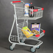 Double Basket Shopping Cart In Chrome Plated Steel - 20 W X 22.625 L X 39.5 H